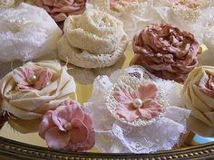 40 Handmade Fabric Flowers for weddings bouquet by PapernLace, $20.00