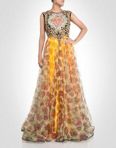 ulti-tone floral zardosi and rhinestone work floral gown.  Shop Now: www.kimaya.in