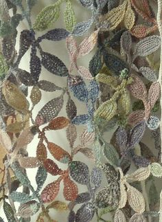 sophie digard, crochet leaf scarf, easy crochet patterns, crochet inspiration,--this would be gorgeous as curtains Freeform Crochet, Crochet Art, Easy Crochet Patterns, Crochet Shawl, Crochet Stitches, Irish Crochet, Cross Stitches, Crochet Borders, Crochet Squares