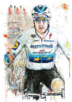 Elia Viviani, Deceuninck-Quick Step, gewinnt zum 3. Mal in Folge, die 24. EuroEyes Cyclassics 2019 (100x70cm) Urban Cycling, Cycling Art, Cycling Jerseys, Road Racing, Bicycles, Spin, Champion, Superhero, Sports
