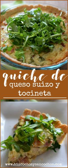 Quiche de queso suizo y tocineta, hecho con masa quebrada casera y relleno de queso suizo, tocineta y cebollas