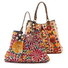 I am in love with the vintage suzani fabrics on these bags! ($275.00)