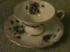 """SWEET VIOLET"" Teacup with Saucer - Hand Decorated YADA China - Vintage"