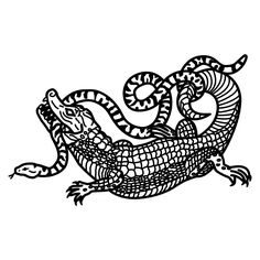 Cocodrile vs Snake. Tattoo Flash by Ego Sum Lux Mundi. More info…