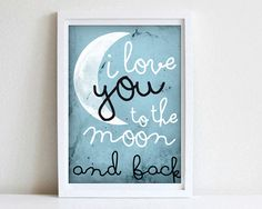 Digitaldruck - I love you to the moon and back, Poster DIN A4 - ein Designerstück von goodGirrrl bei DaWanda