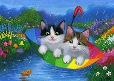 Two kittens cat fish rainbow umbrella spring rain stream OE aceo print art #Miniature