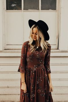 Perfect Fall Dress with 3/4 Sleeves | ROOLEE