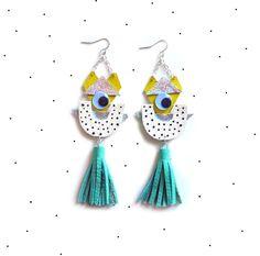 Holographic Geometric Eye Earrings, Cartoon Monster, Polka Dots and Mint Tassel Statement Earrings door BooandBooFactory op Etsy https://www.etsy.com/nl/listing/164218269/holographic-geometric-eye-earrings