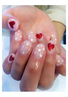 Fashion Based nail art of the week Hearts And Dots Nail Art Ready For Valentine's Day