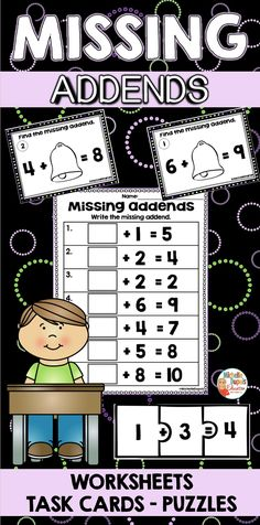 Are you looking for missing addend activities? This packet includes worksheets, task cards and puzzles that are perfect to practice finding missing addends. Primary Classroom, Classroom Ideas, Puzzles And Answers, Math Skills, Math Lessons, Math Stations, Phonemic Awareness, Teaching French, Educational Activities