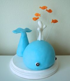 Fondant Whale Cake Topper by Jollitops on Etsy Cupcake Cakes, Baby Cakes, Cupcakes, Whale Cakes, Whale Party, Orange Fish, 4th Birthday, Birthday Ideas, Birthday Cake