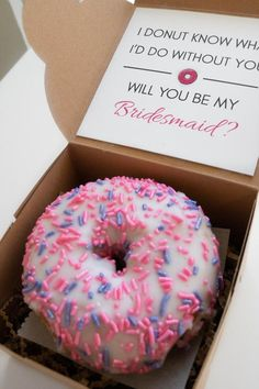 Proposal Box: Donut DIY Kit bridesmaidsmaid of Bridesmaid Boxes, Asking Bridesmaids, Bridesmaid Proposal Gifts, Bridesmaids And Groomsmen, Cute Bridesmaids Gifts, Will You Be My Bridesmaid Gifts, Cute Wedding Ideas, Gifts For Wedding Party, Our Wedding