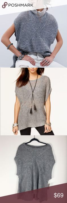 Free People Gray Short Sleeve Pullover Sweater NWT. Free People Gray short sleeved Knit sweater. So cute and lightweight. Semi-sheer. Size M. No modeling/trades. Free People Sweaters