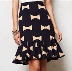 Eva Franco Navy Anthropologie Bow Tie Fluted Pencil Skirt Bows Sz 4 | eBay