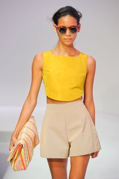 spring clothes! Loving the yellow top and tan bottoms, I also love wearing my sunglasses indoors too.