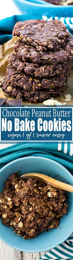 I absolute LOVE these vegan chocolate peanut butter no bake cookies! The recipe couldn't be easier, it's completely vegan, and in most cases also gluten-free. One of my favorite vegan cookies! <3 Find more vegan food at veganheaven.org