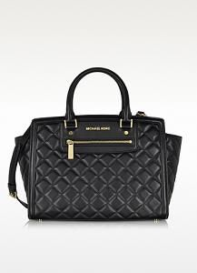 MICHAEL KORS Selma Quilted Black Leather Large Satchel