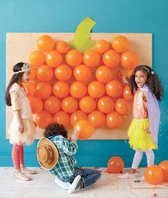 tape confetti filled balloons to the wall and then pop them for  a fun kids party game