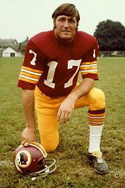 "#17 Billy Kilmer – Quarterback – (1971 – 78) Drafted in the first round by San Francisco in 1961 out of UCLA… Nicknamed ""Whiskey Red"" because face turned red during games… Led the Redskins to the Super Bowl in 1972… Ranks fifth on the Redskins' all-time list for most passing yards in team history with 12,352… Passed for more than 20,000 yards for his total NFL career… All-Pro in 1972. Most proud of 1972 NFC Championship and opportunity to play in the Super Bowl."