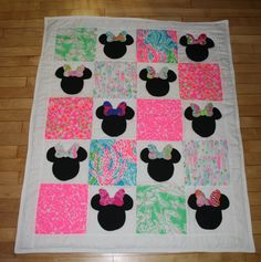 Ready to Ship Everybody Knows It's All About the Bows!  Minnie Mouse inspired quilt made with Lilly Pulitzer fabric on Etsy, $135.00