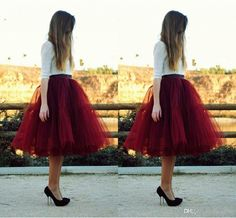 Online Cheap Fashion Women Tulle Skirt 5 Layers Puffy Burgundy Women Skirts For Women Knee Length Tutu Skirts For Weddings J1021 By Caradress | Dhgate.Com