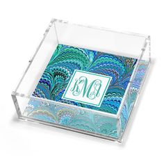 Personalized Peacock Italian Marble Petite Lucite Trinket Tray