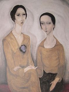 《藤田嗣治「二人の女」1918年》 藤田は、モディリアーニらエコール・ド・パリの画家たちと交友しながら、 1920年代初めに「すばらしい乳白色」と絶賛された画風を確立した。 本作には、縦に引き伸ばされた女性像にモディリアーニの 影響が見られるとともに、 女性の肌や衣装などの細やかな筆致による表現には、 その萌芽を見ることができる。