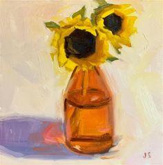"Daily Paintworks - ""Sunflowers in Orange Bottle"" - Original Fine Art for Sale - © Jamie Stevens"