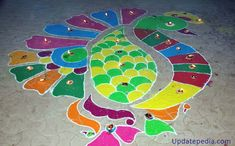 Lighten up the dull floors by coloring them with rangoli colours. Add few diyas to light your rangoli design. Free Hand Rangoli Design, Rangoli Designs With Dots, Diya Decoration Ideas, Diwali 2018, Peacock Rangoli, Rangoli Colours, Kids Rugs, Flooring, Outdoor Decor