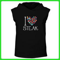 Idakoos - I love Steak colorful hearts - Food - Hooded Sleeveless T-Shirt - Food and drink shirts (*Amazon Partner-Link)