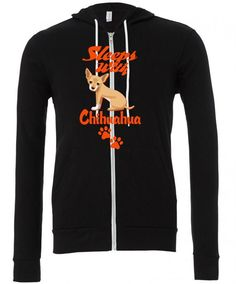 sleeps with chihuahua Zipper Hoodie