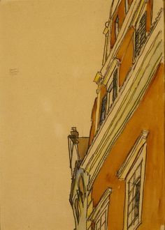 Front View of a Building (Krumau House) , Egon Schiele, watercolor, pastel on paper 1910