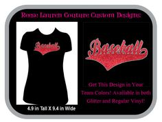 PERSONALIZE Your Baseball T-shirt in Your Team Colors - With or Without Glitter by ReeseLaurenCouture on Etsy