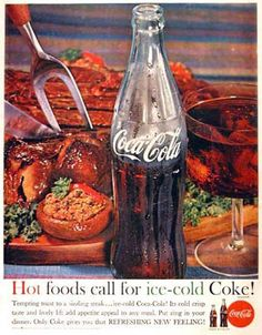 Coca-Cola 1960 Hot Foods Call For Ice-Cold Coke - www.MadMenArt.com | Coca-Cola is more than a brand or a logo. It's a part of American culture - for some people attitude to life and lifestyle. Mad Men Art presents more than 200 vintage Coke ads. #CocaCola #Coke #Cola #VintageAds