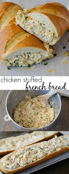 Chicken Stuffed French Bread Keep Calm and Cook Something: Chicken Sandwich Recipes for Lunch or Dinner Roast Beef Sandwich, Sandwich Bar, Chicken Sandwich Recipes, Dinner Sandwiches, Stuffed Bread Recipes, Wrap Sandwiches, Italian Sandwiches, Chicken Sandwhich, Chicken Subs