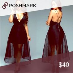 Black Deep V Mesh Midi Sexy Dress If you don't see your size let me know! Dresses Midi