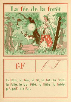 E. Barthélemy, illustrator. f-F. From: Mon livre préféré méthode de lecture mixte by Camille Dirand and Mathilde Blanc. Published Paris: A. Hatier, 1950. French Words, French Quotes, French Tenses, French Adjectives, French Practice, French Worksheets, Les Fables, Picture Dictionary, Kindergarten Lessons