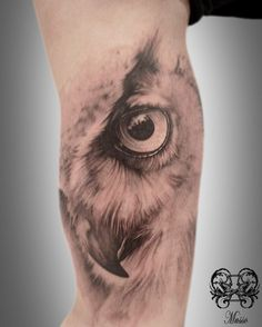 orange eyed owl mens realistic arm quarter sleeve tattoo tattoo designs pinterest. Black Bedroom Furniture Sets. Home Design Ideas