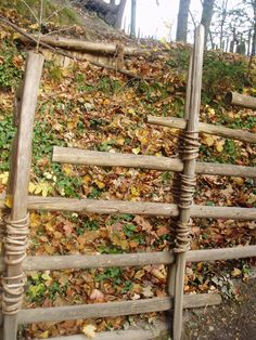 Fence made from wooden sticks and willow