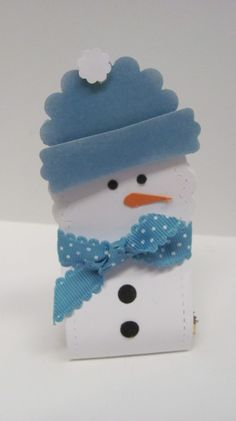 Snowman Treat Holder - Filomena Green, Two Tag snowman... holds a little hershey nuggest or piece of candy You can find more details on my blog: http://personally4u.blogspot.com/