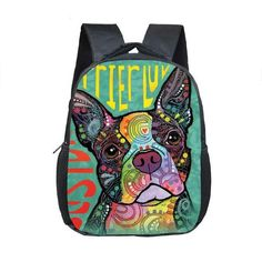 Colorful 3D Boston Terrier Backpack Book Bag Kawaii Style.  Get for you child who loves boston terrier as a Back to school gift.