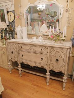 shabby chic antique buffet french gray and white distressed beach coastal cottage. $695.00, via Etsy.