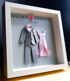 Personalized Wedding, Engagement, Anniversary, Bridal Shower Paper Origami Bride & Groom Shadowbox Custom Gift by paintandpapercraft on Etsy