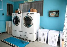 Laundry Room Remodel in blue.  Nice folding counter.