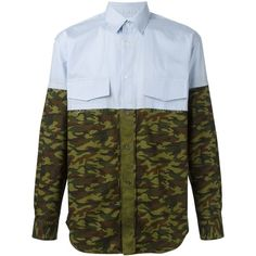 Comme Des Garçons Shirt stripe and camouflage print shirt O' ($482) ❤ liked on Polyvore featuring tops, striped top, camo shirts, camouflage shirt, blue camouflage shirts and blue top