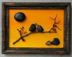 """Pebble Art / Rock Art Birds perched on a branch/tree, on hand painted sunset background, 5x7 """"open"""" frame, bird lovers, love (FREE SHIPPING)"""