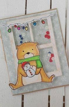CHRISTMAS SHAKER CARD - Scrapbook.com #sizzix #timholtzalterations #shakercard #christmascard #justmedigitstamp