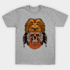 indian native lion head sugar Skull T-Shirt #teepublic #tee #tshirt #clothing #thedayofthedead #lion #indianchief #chief #owls #sugarskull #skull #pattern #nativeamerican #native #diadelosmuertos #mexicanart #mexicoskull #mexicosugarskull #halloween