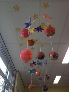 Planetarium van tempex ballen: de ballen beplakken met papier-maché en erna beschilderen met verf. Sterren vouwen en erboven hangen om het heelal compleet te maken!
