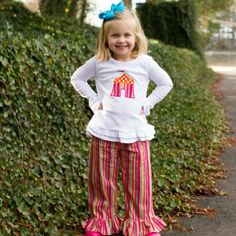 1/2/2014  Hot Pink Striped Circus Tent Ruffle Pants Set